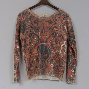 Anthropologie Sweater Graphic Print Moth Small